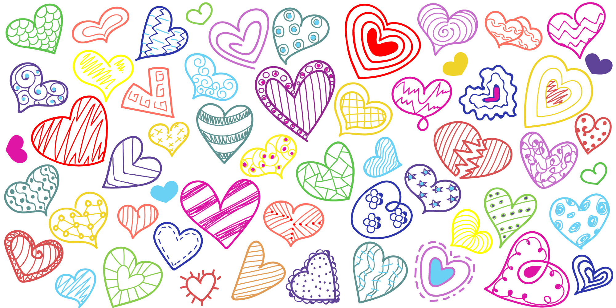 Hearts Doodle Background