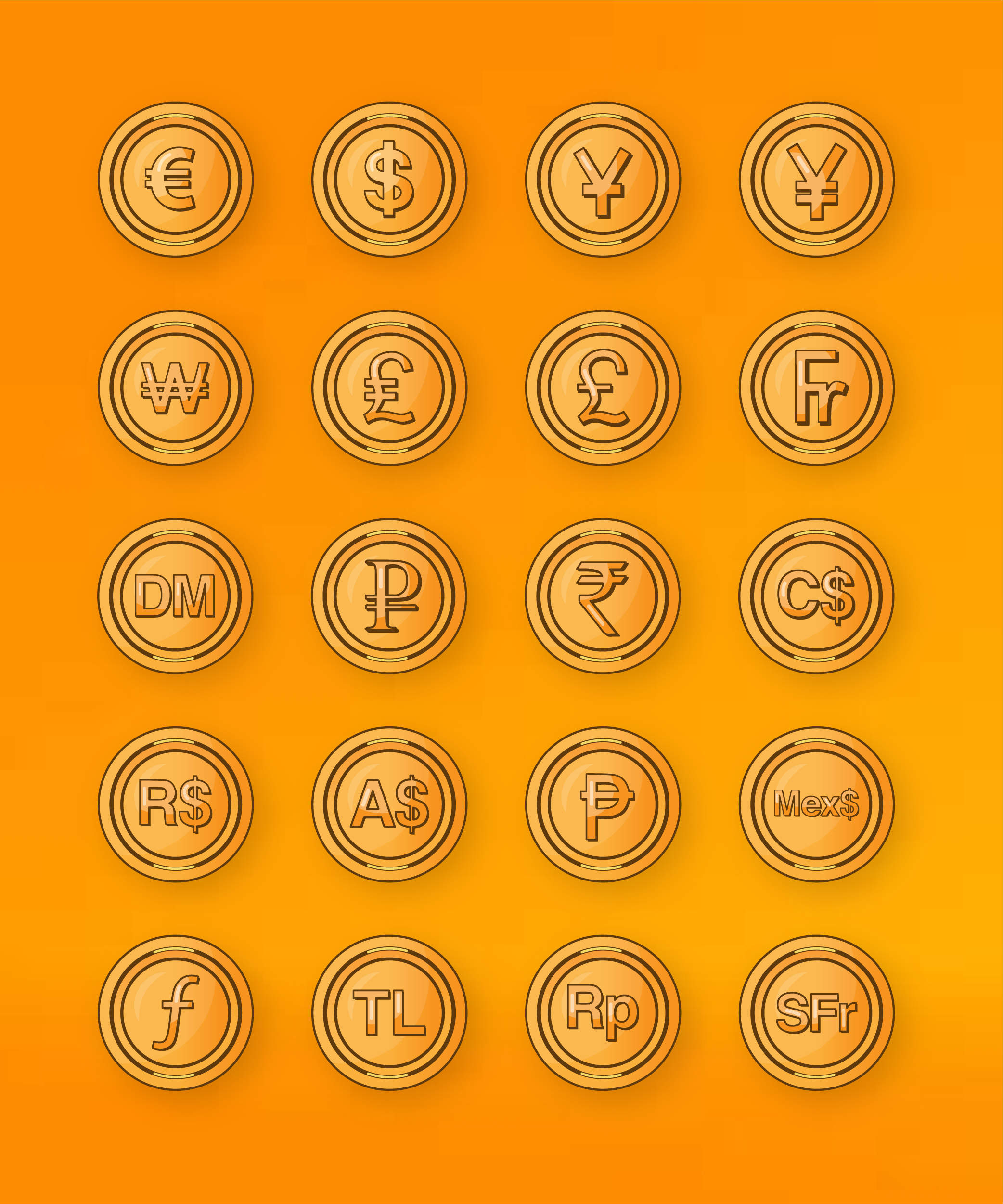 Currency Coins Icons Set