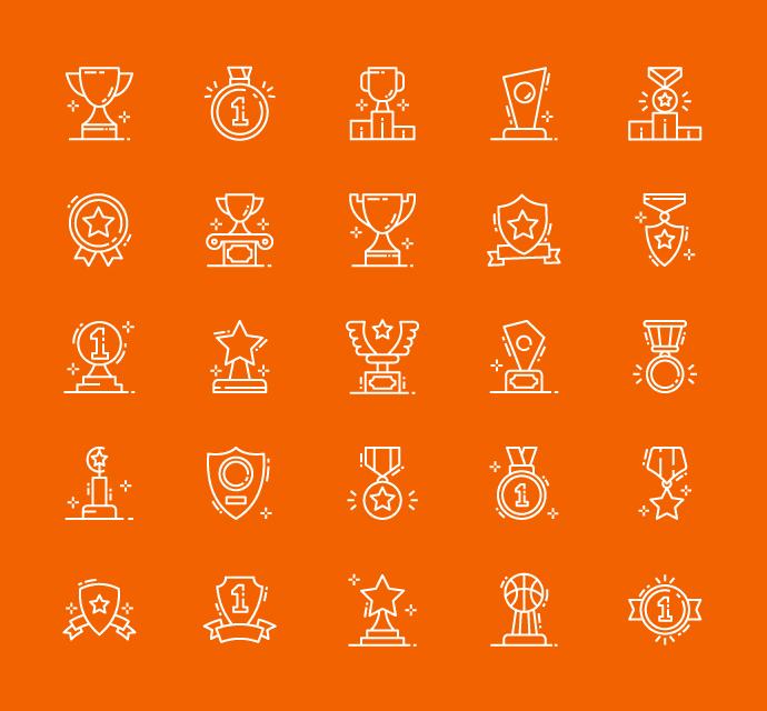 Award Linear Icons Vector Art & Graphics