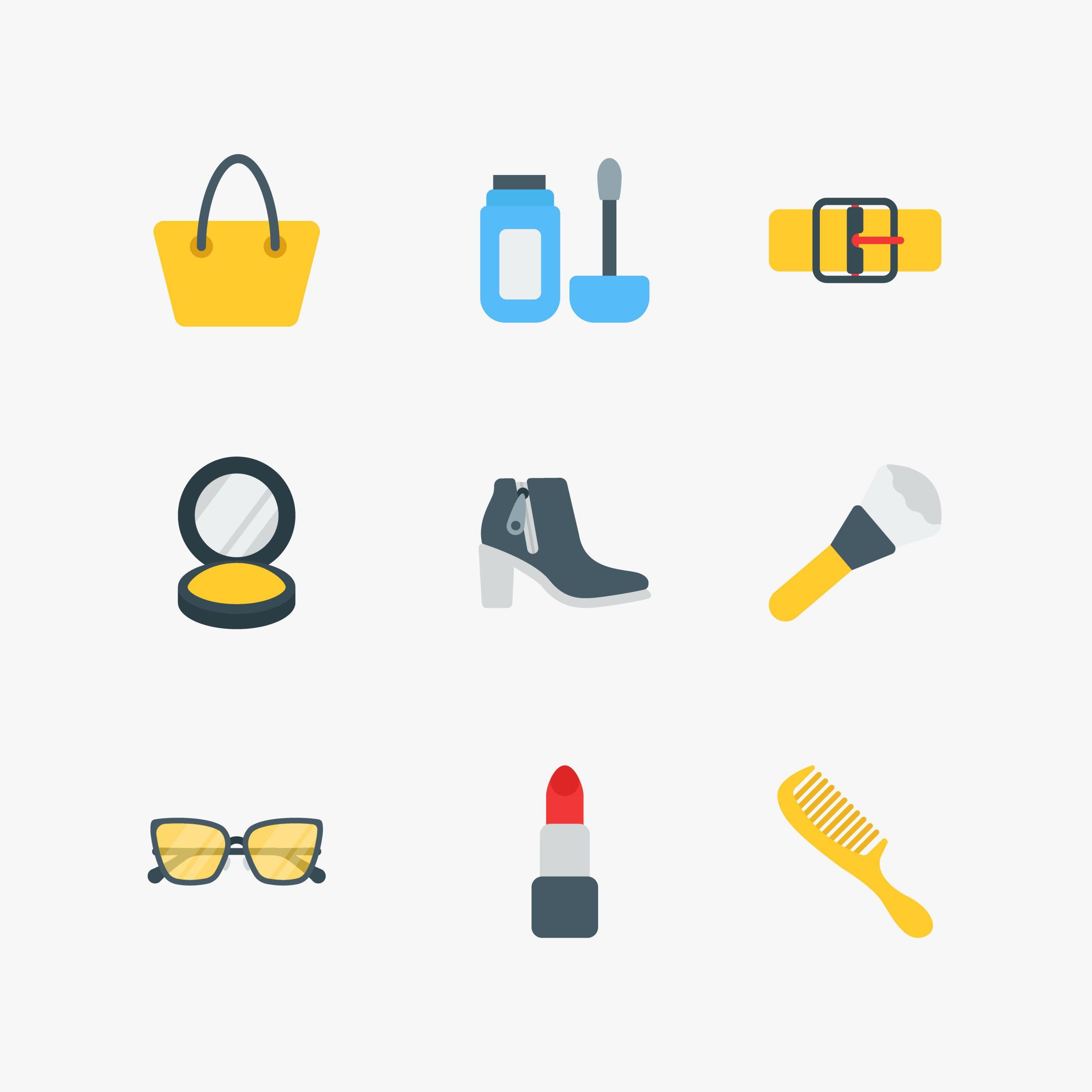 Beauty and Fashion Flat Icons Set