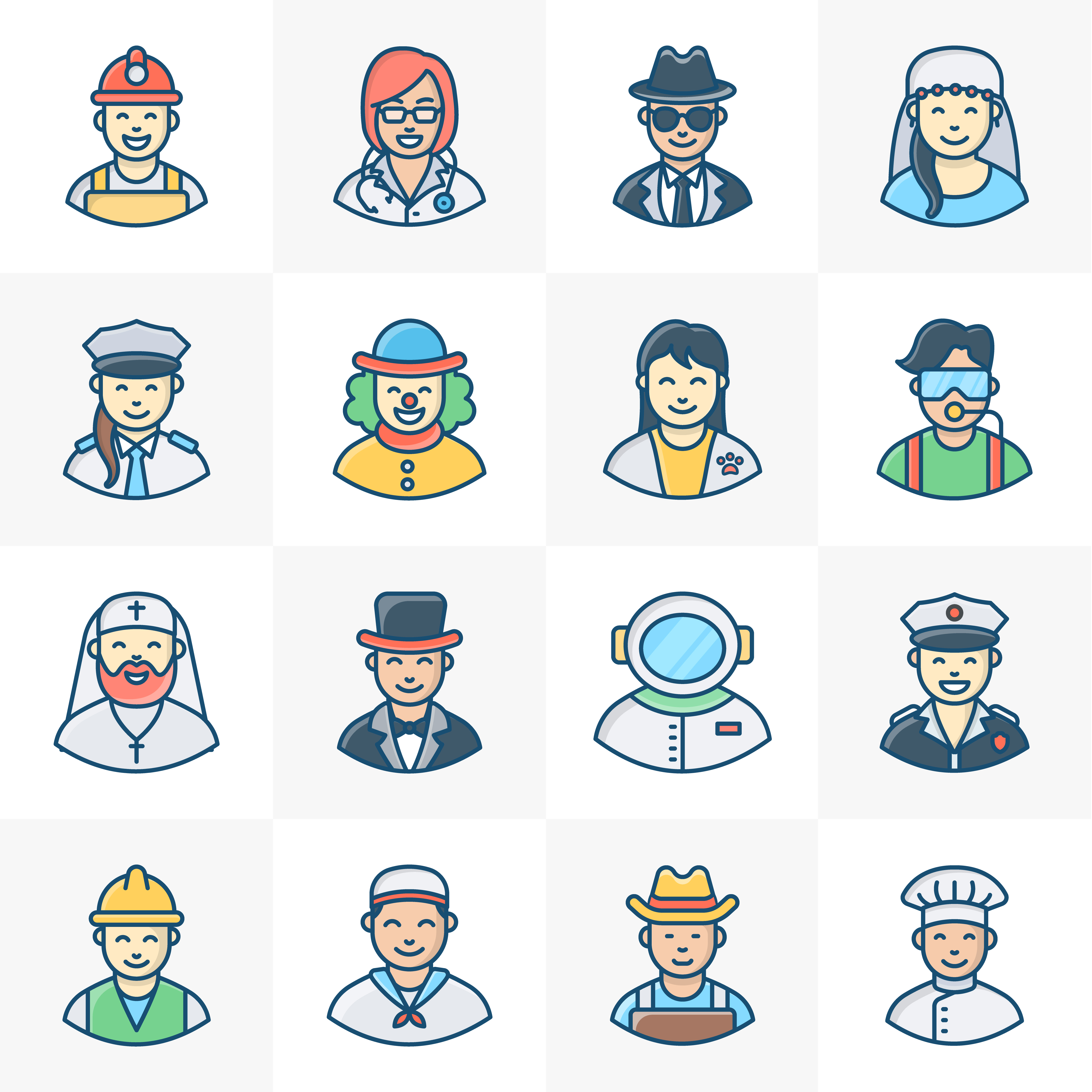 Collection of Professional Avatars Free Vector