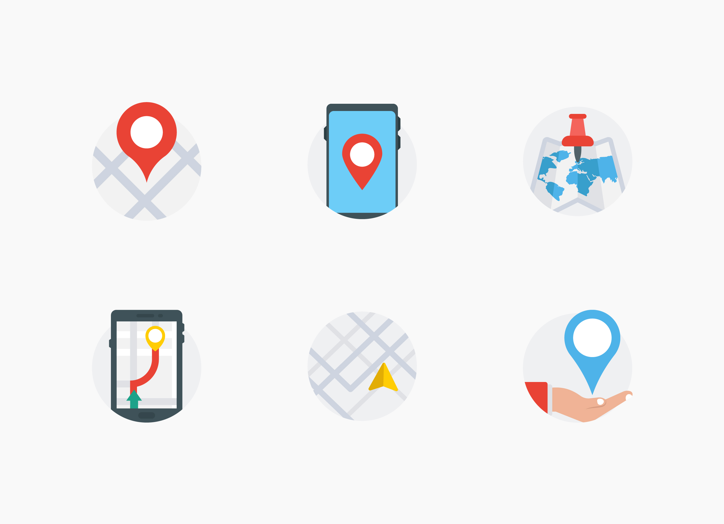 Map, GPS and Navigation Flat Icons Set