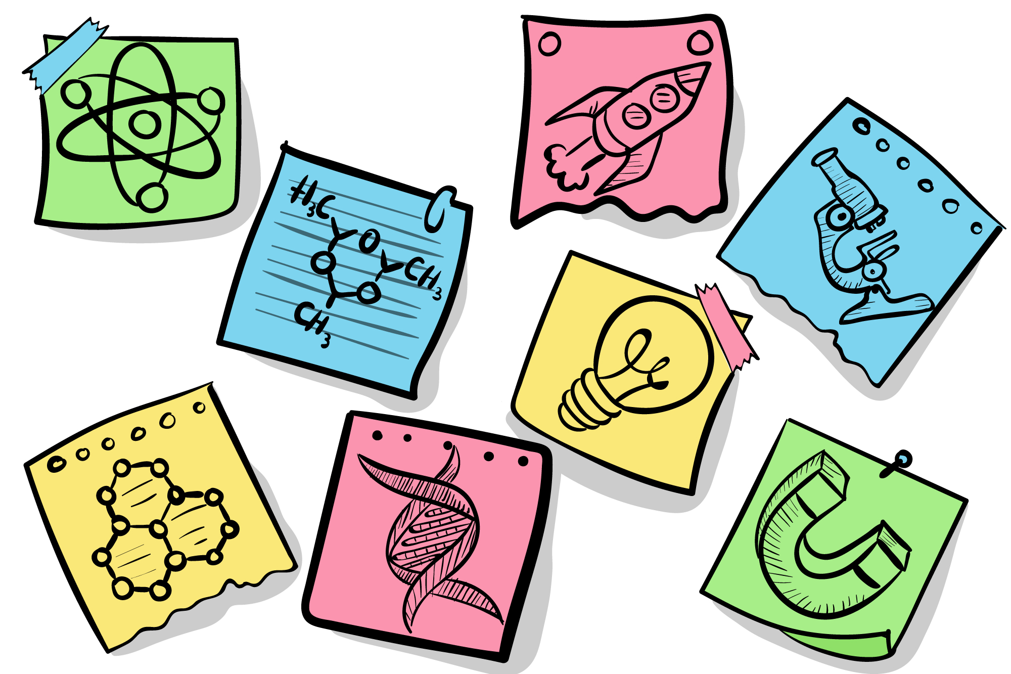 Download Set of Hand Drawn Sticky Notes for Free