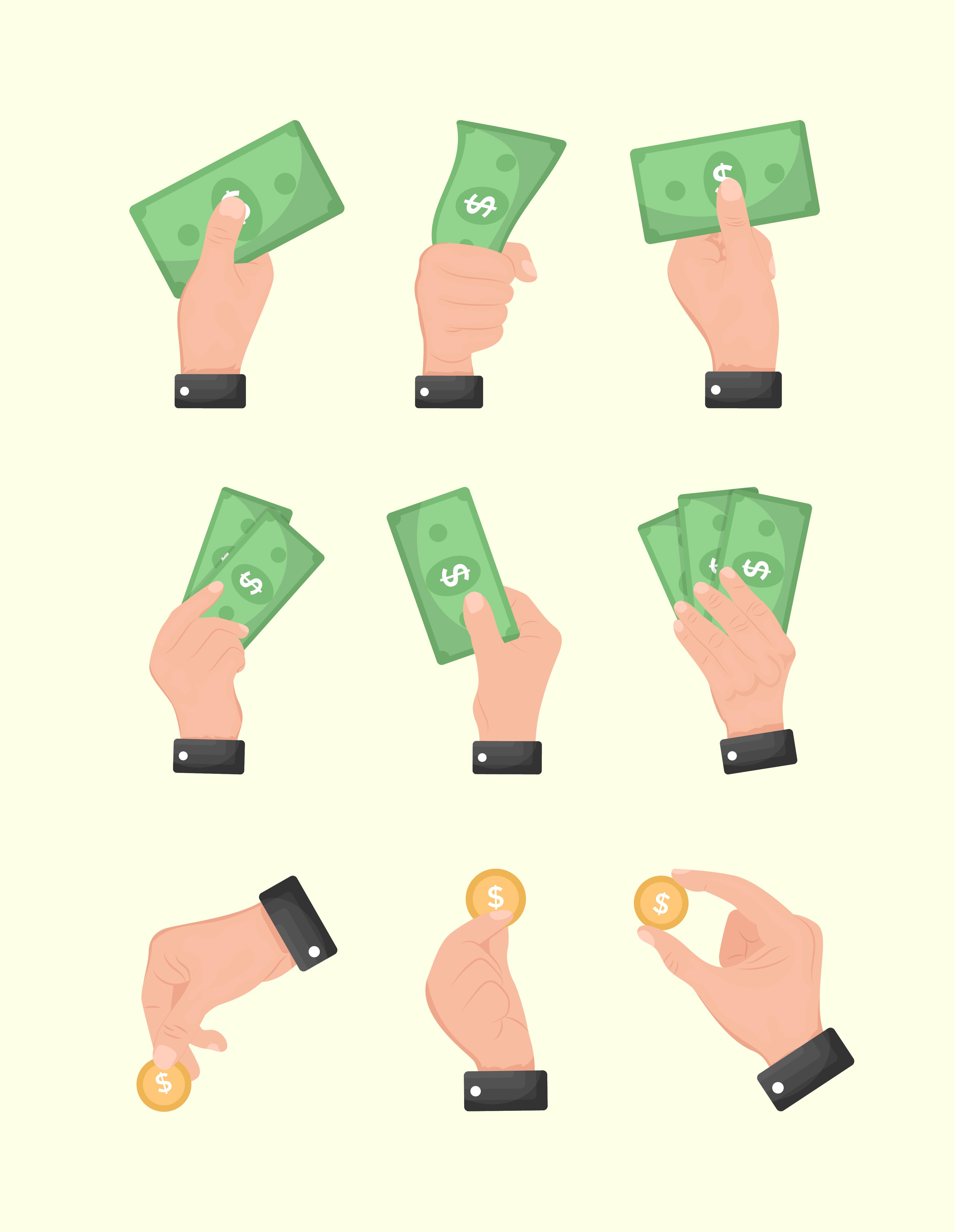 Hands Holding Money Free Vector Download