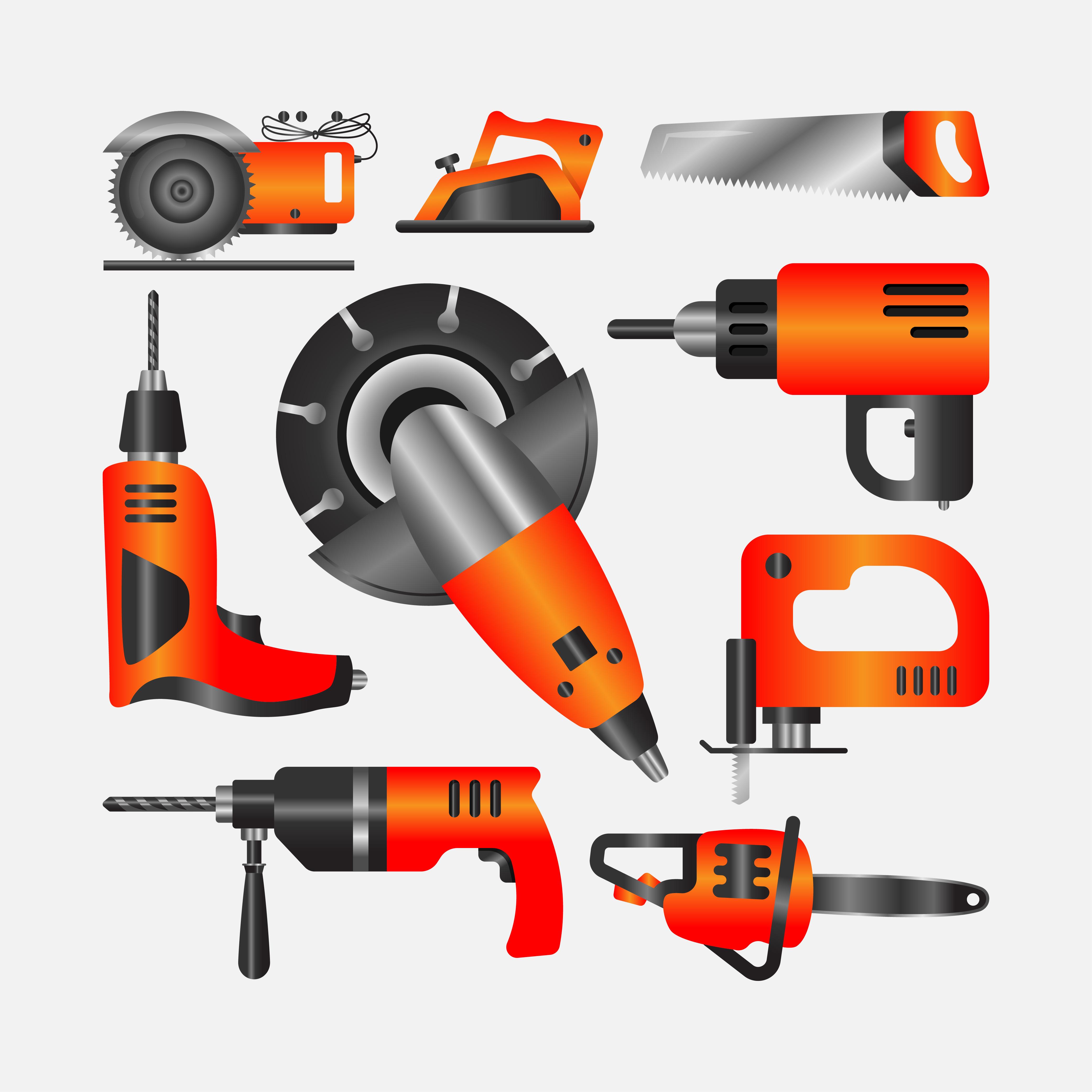 Flat Vector Set of Construction Tools