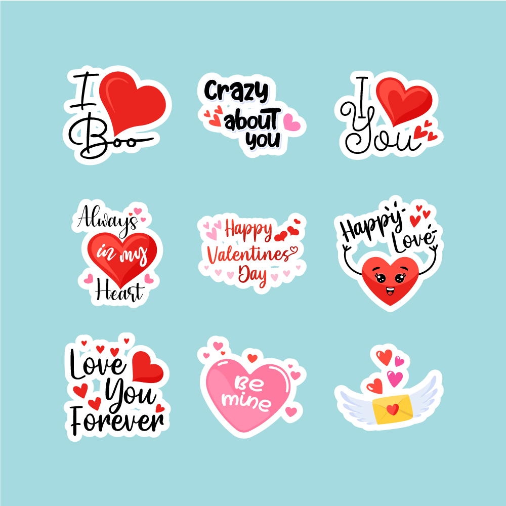 Cute Love Stickers Free Vector Download