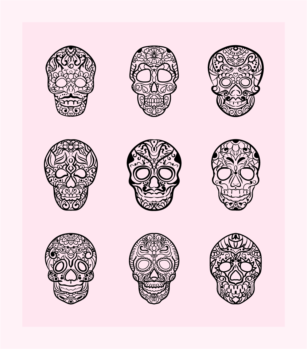 Decorated Skulls Vector Art