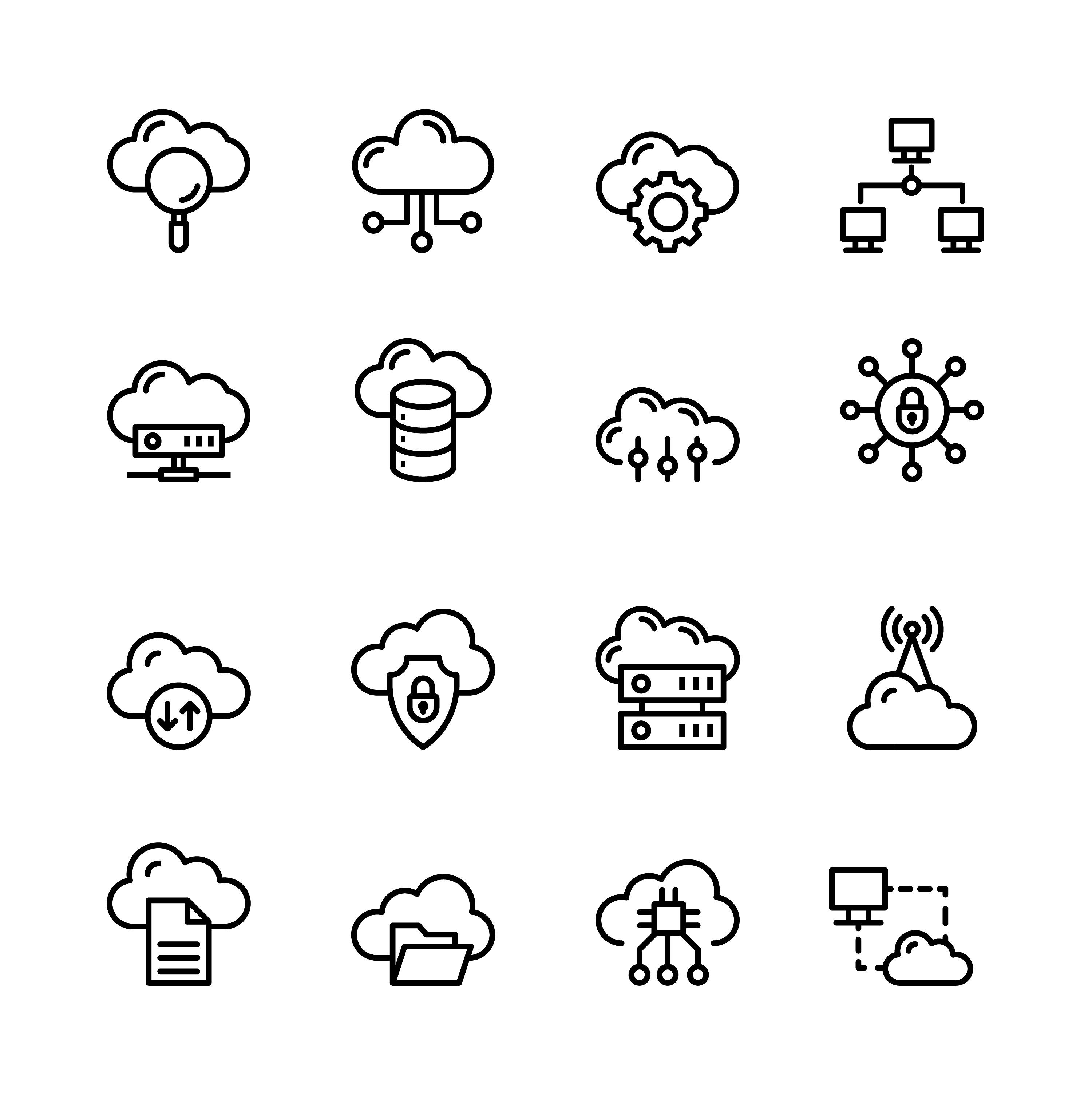 Download Cloud Computing Line Icons