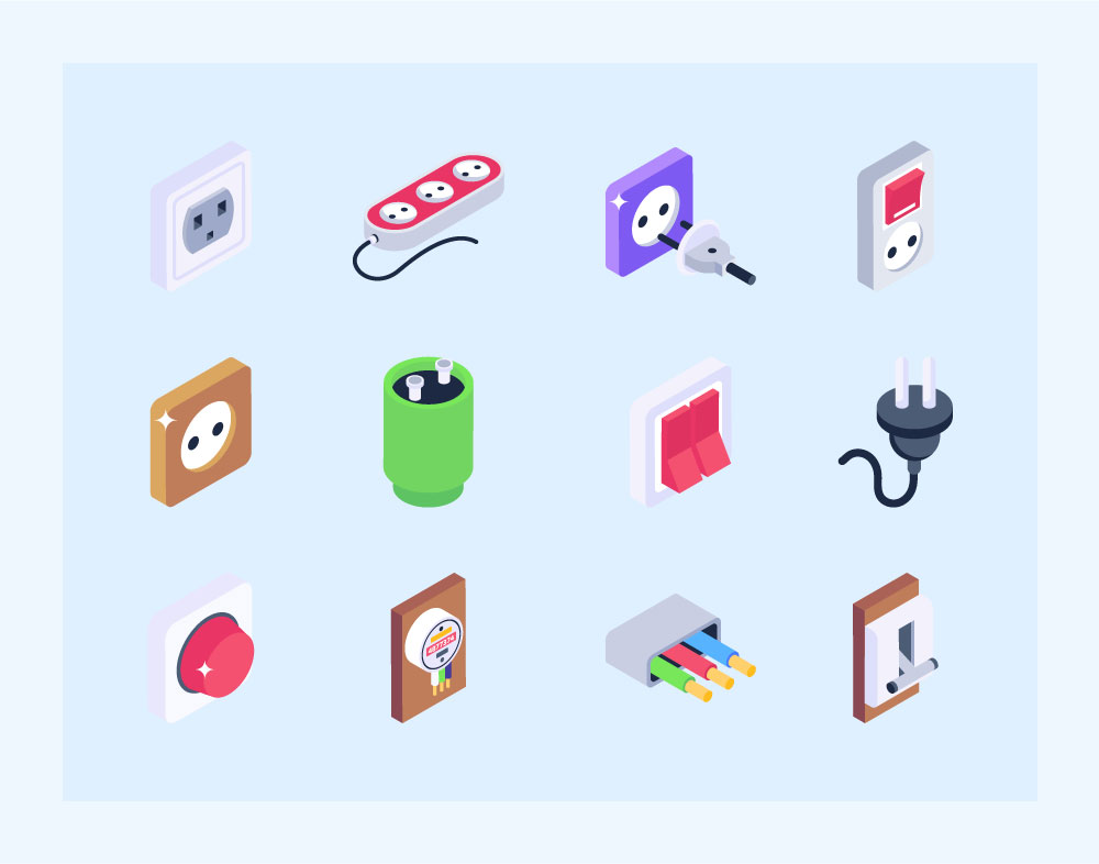 Electricity Icons in Isometric Design