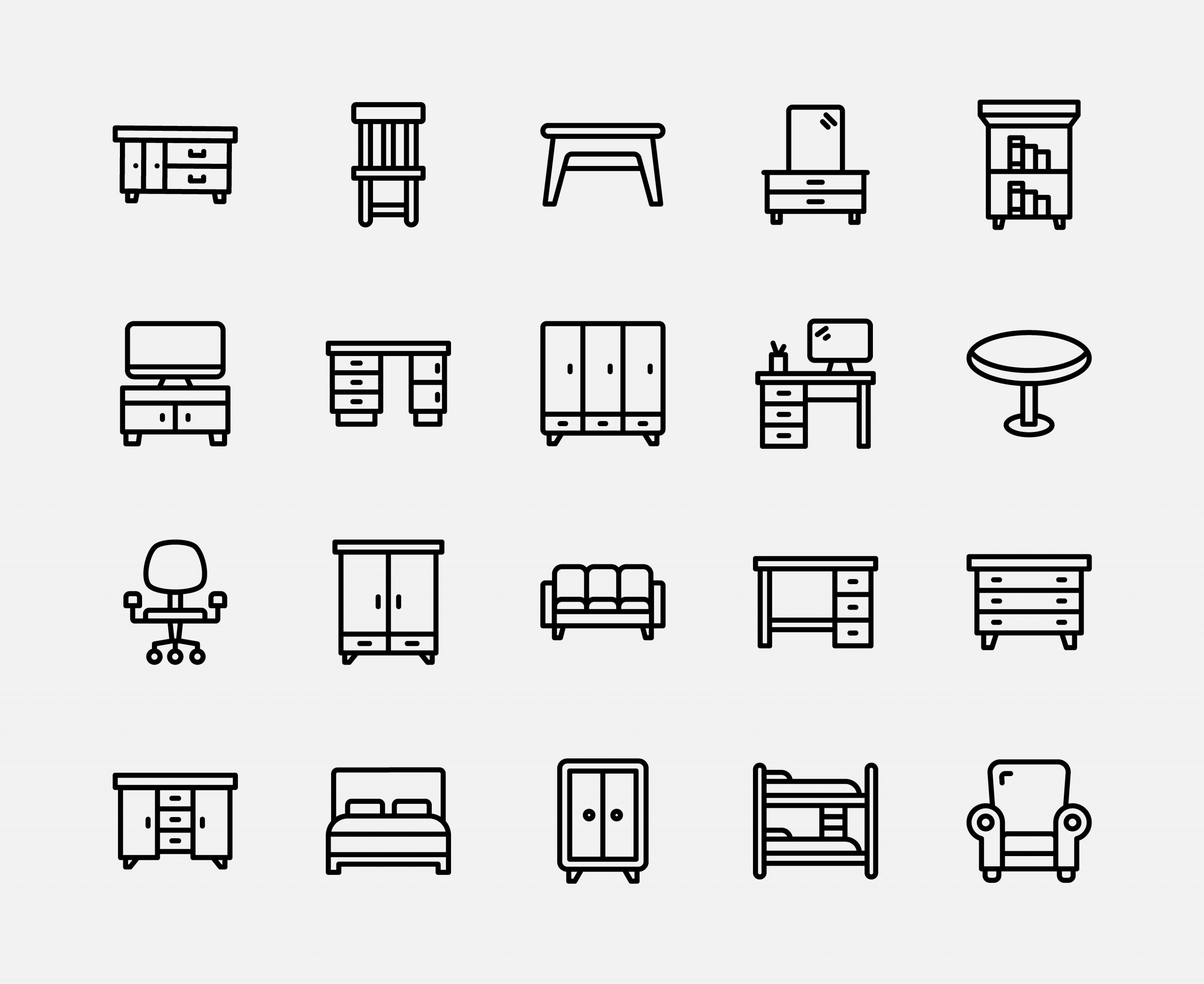 Furniture Icons Free Vector Art