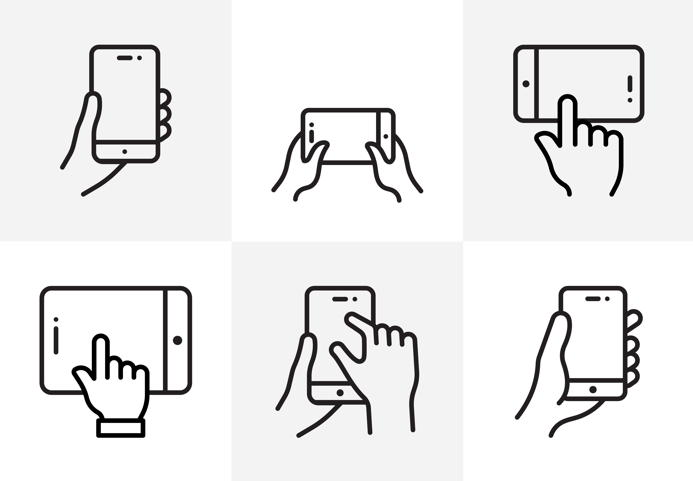 Set of Hand Holding Phones Download