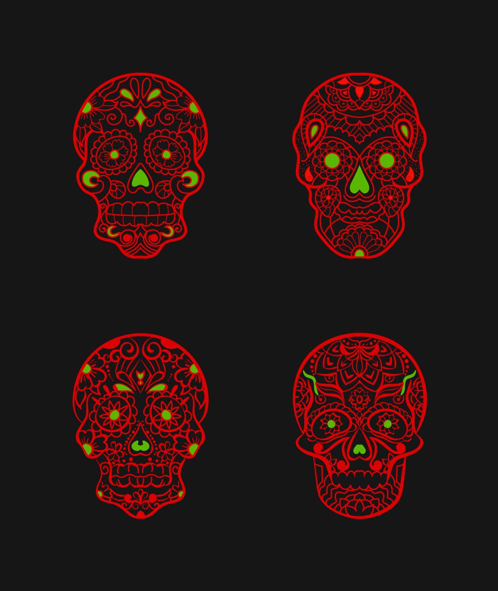 Mexican Skull Art Free Vectors