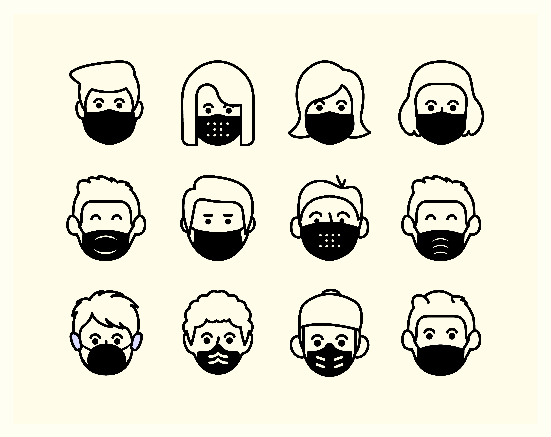 People Avatars Wearing Medical Masks Vectors