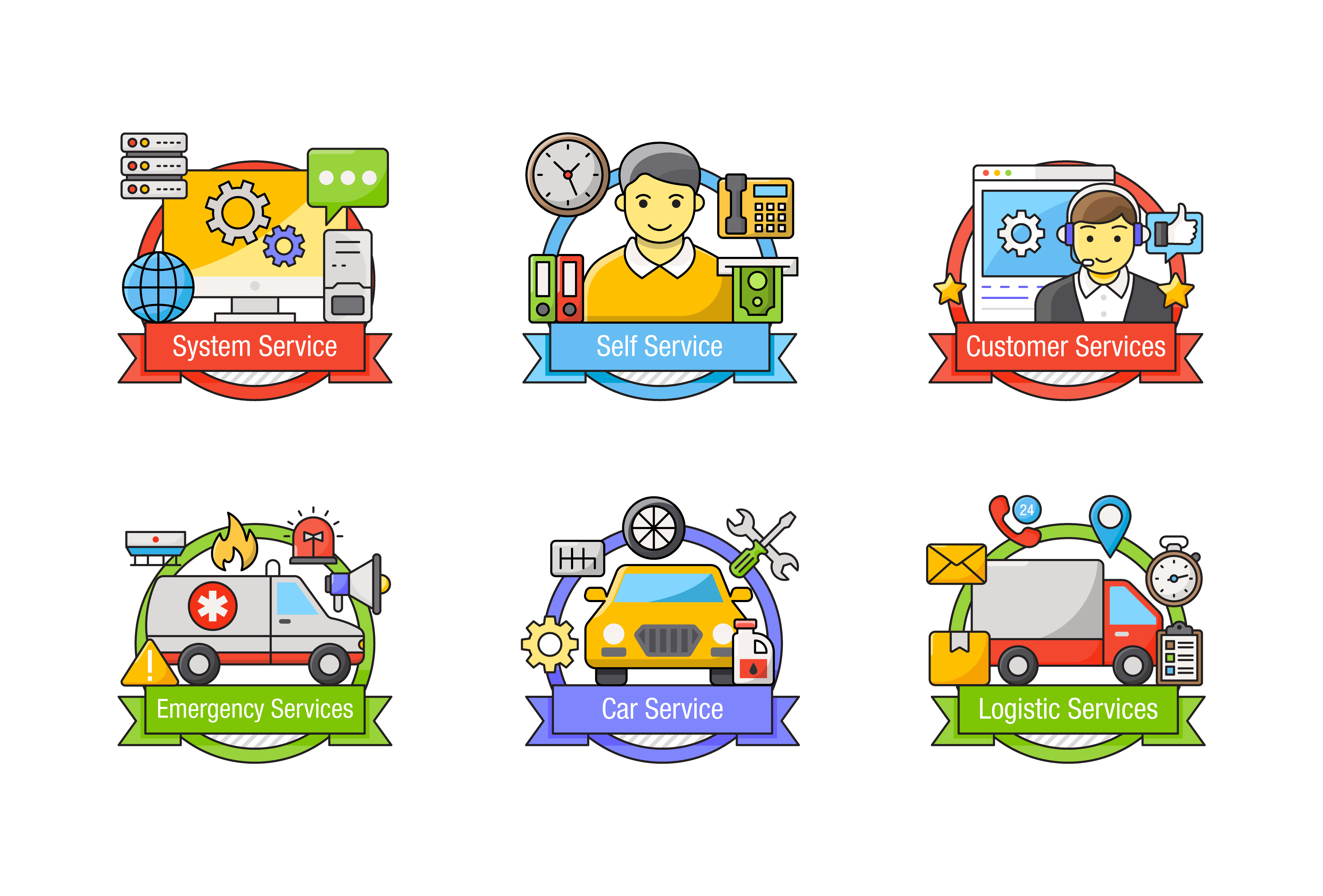 Types of Services Vector Download