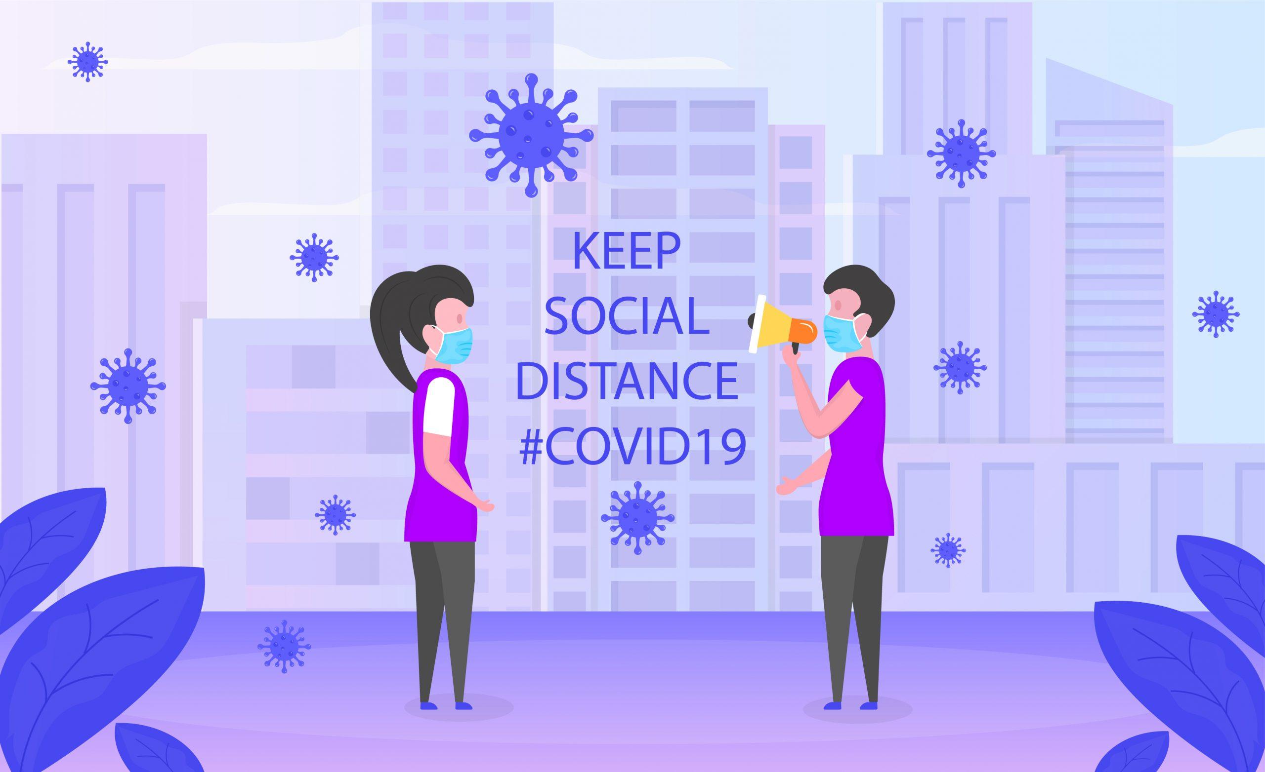 Social Distance Flat Illustration