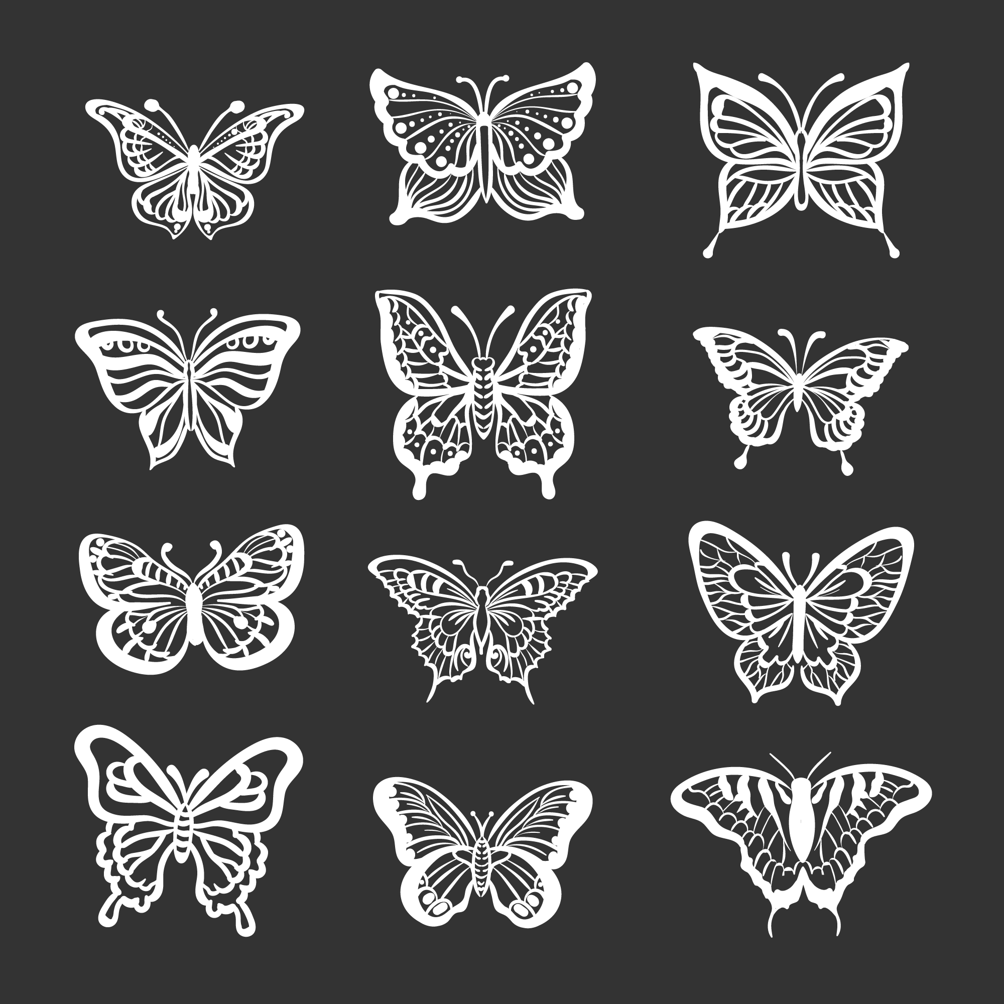 Butterfly Icons Hand Drawn Style Download