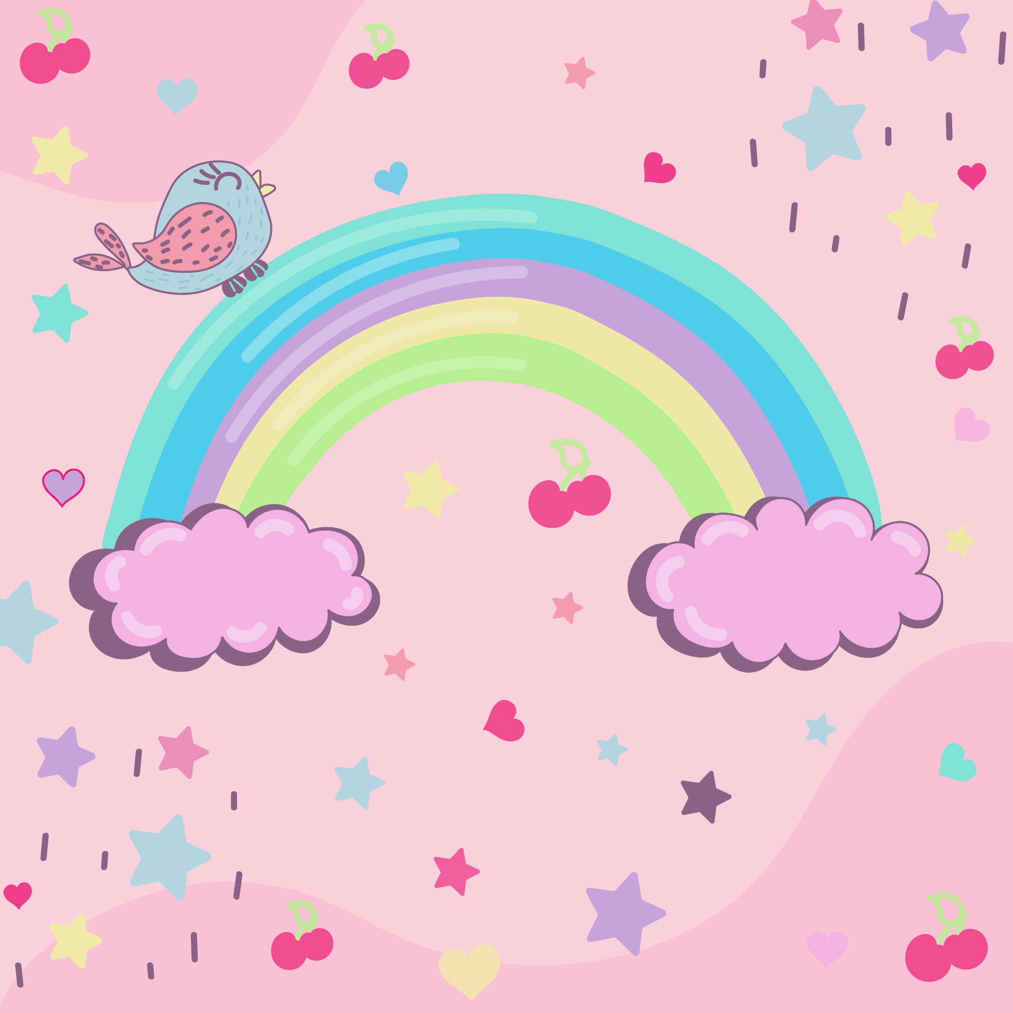 Rainbow Doodle Free Vector Art