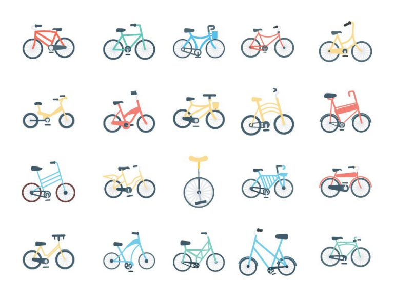 Bicycles Flat Icon Set