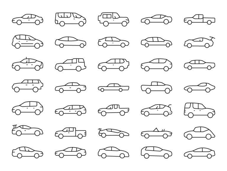 Cars Line Icon Set