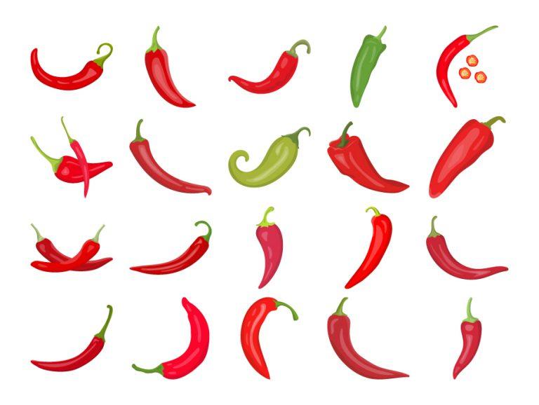 Chili Pepper Flat Icons