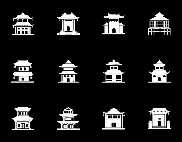 Chinese Houses Free Vector Art