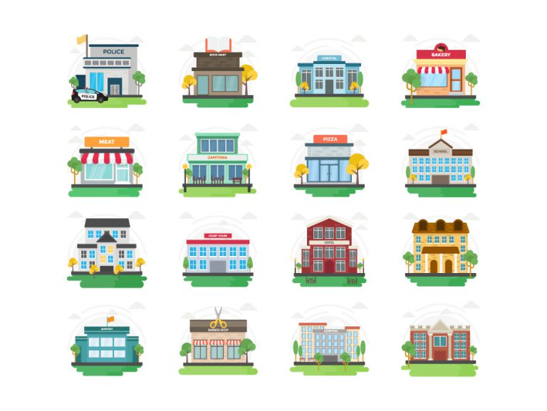 City Buildings Flat Icons