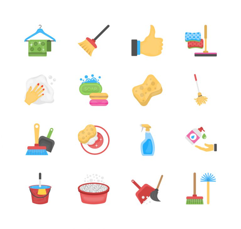 Cleaning Flat Icons Set Free Download