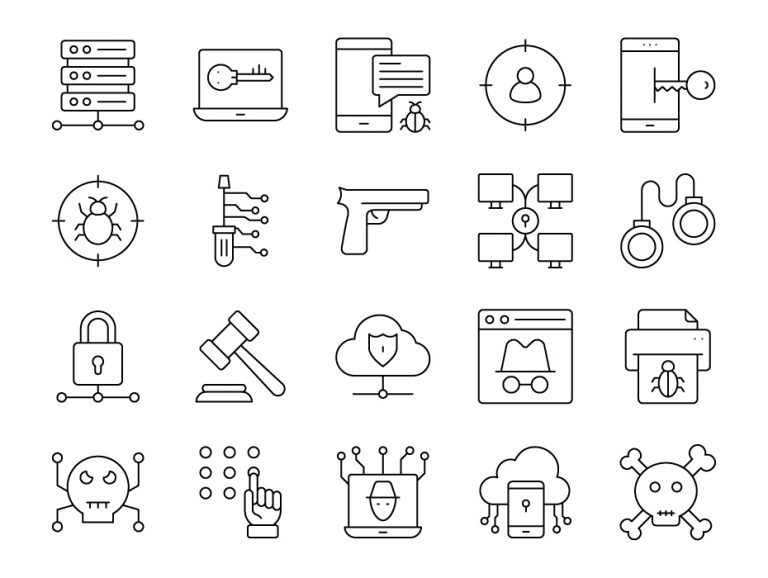 Cyber Hacking Icons