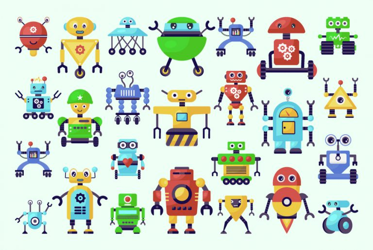 Download Flat Robot Character Collection
