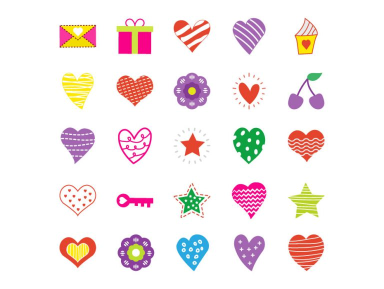 Flat Colored Hearts Pack