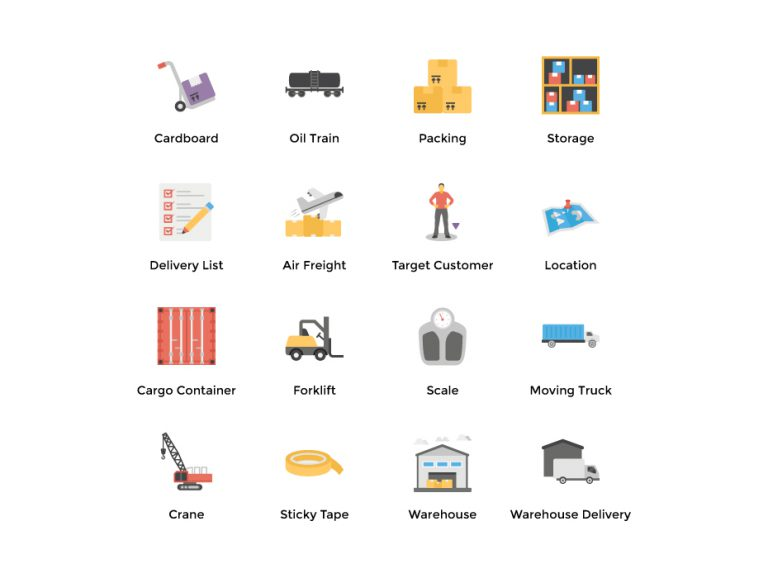 Flat Warehouse Icons