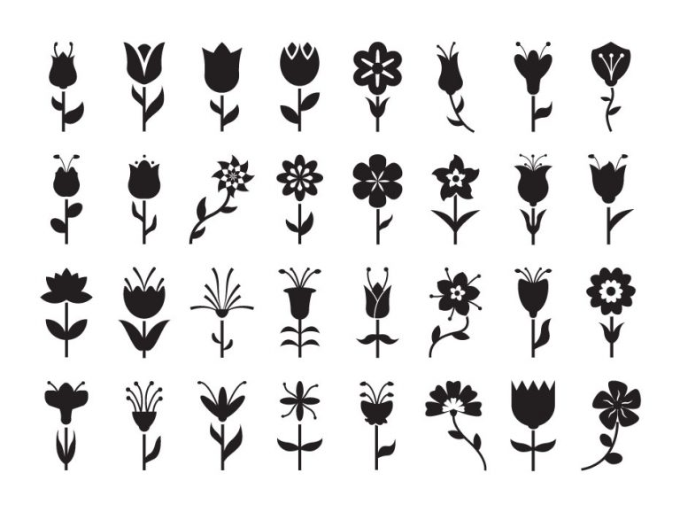 Flowers Glyph Icons