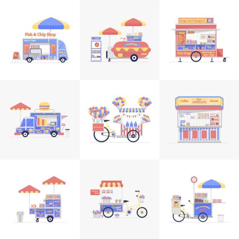 Free Food Stalls Vectors Download