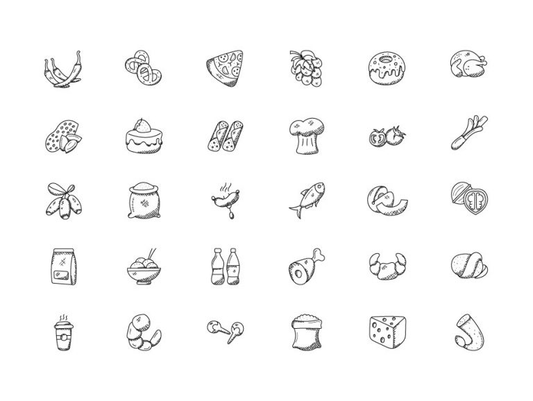 Food Hand Drawn Icons