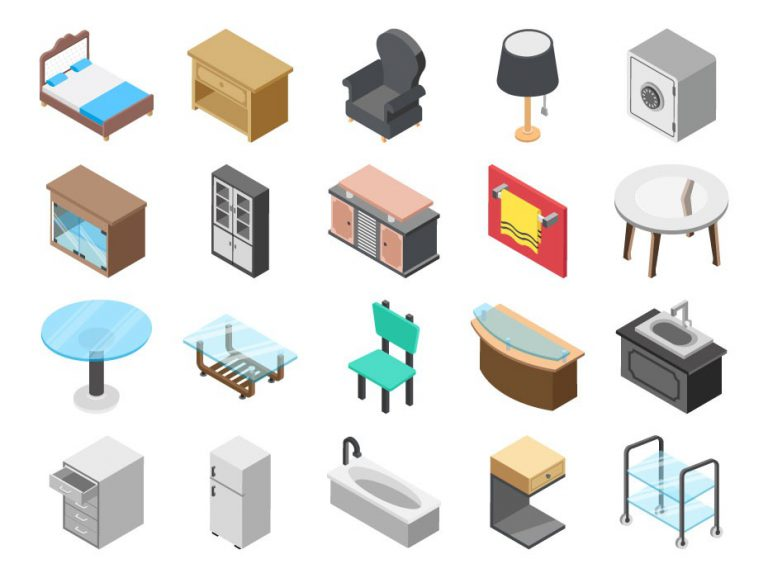 Furniture Flat Icons Free