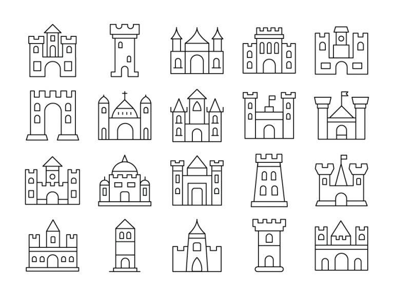 Medieval Castles Icon Set