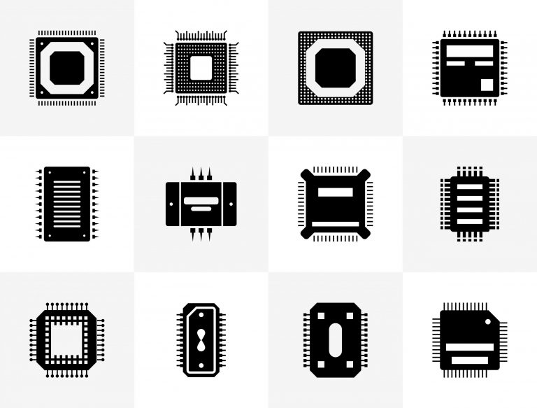 Microprocessor Design Icons Pack