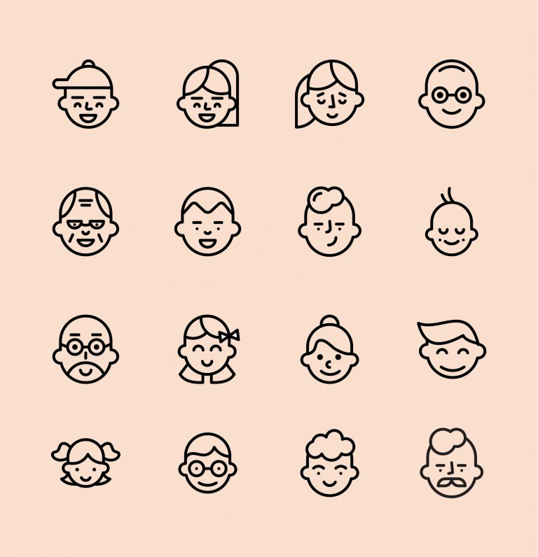 Different Ages Avatars Free Vectors