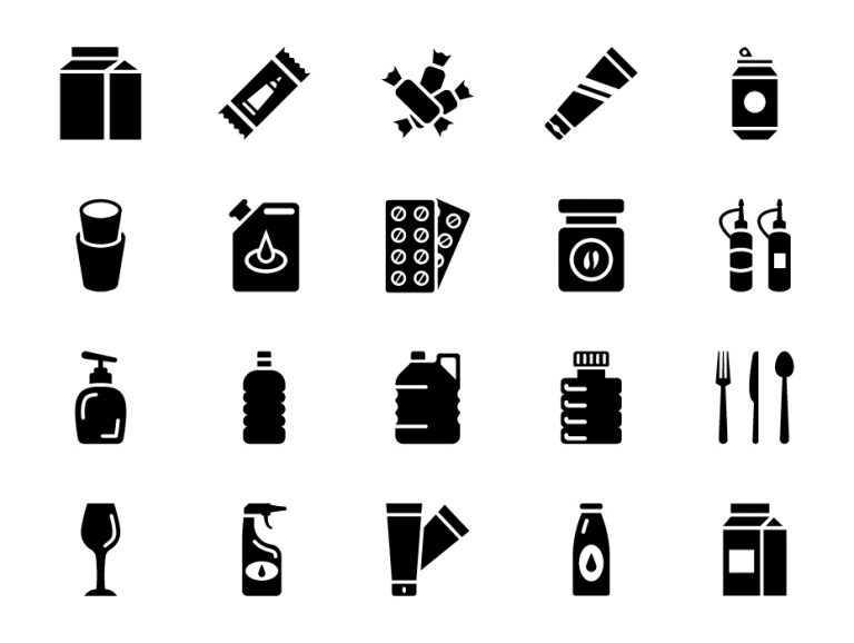 Plastic Packaging Icons