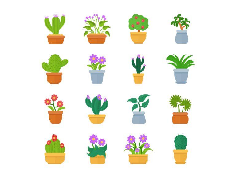 Pot Plants Vector Free