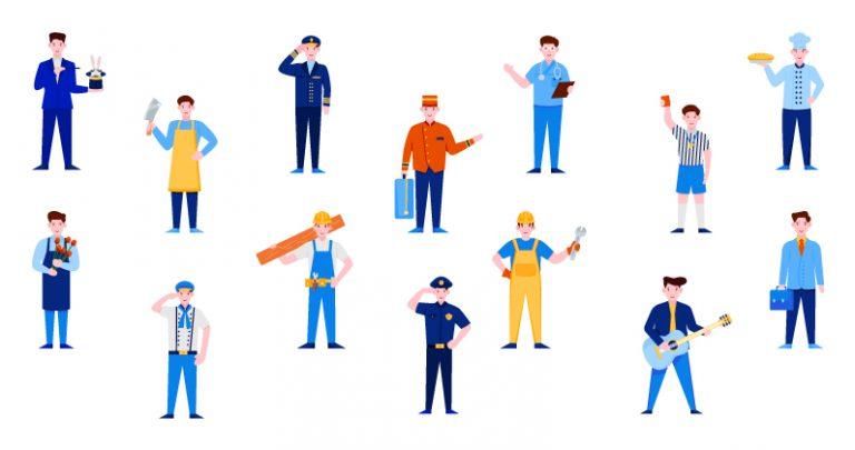 Professional Characters Vector Set