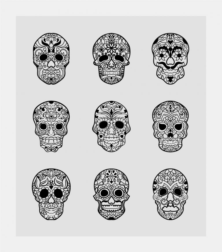 Sugar Skulls Free Vector Art