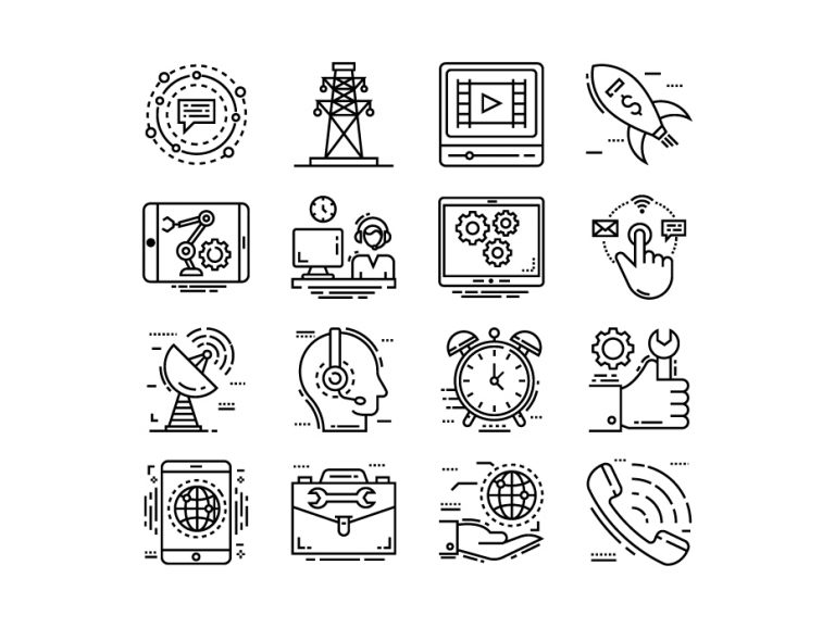 Technical Support Line Icons