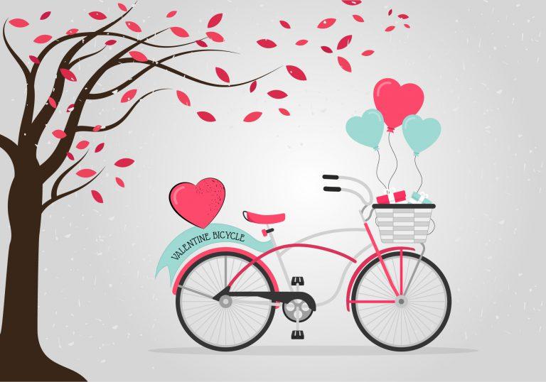 Love Bike Valentine Vector Art