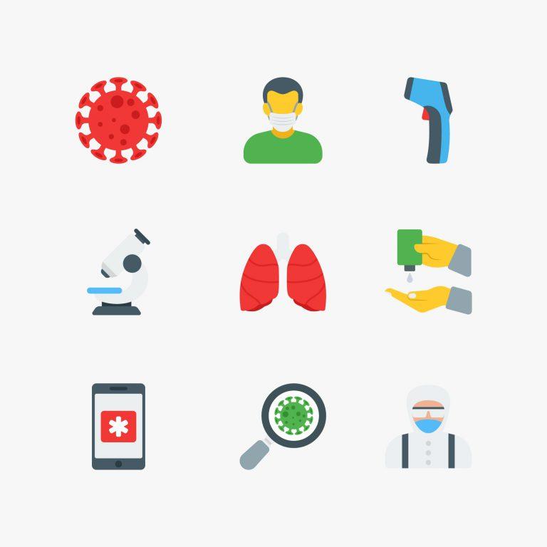 Flat Icons of Coronavirus