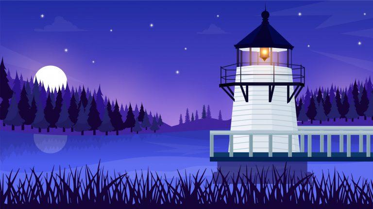 Lighthouse Landscape Illustration Download