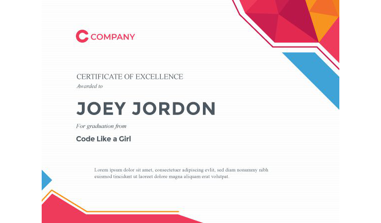 Certificate Of Excellence Vector