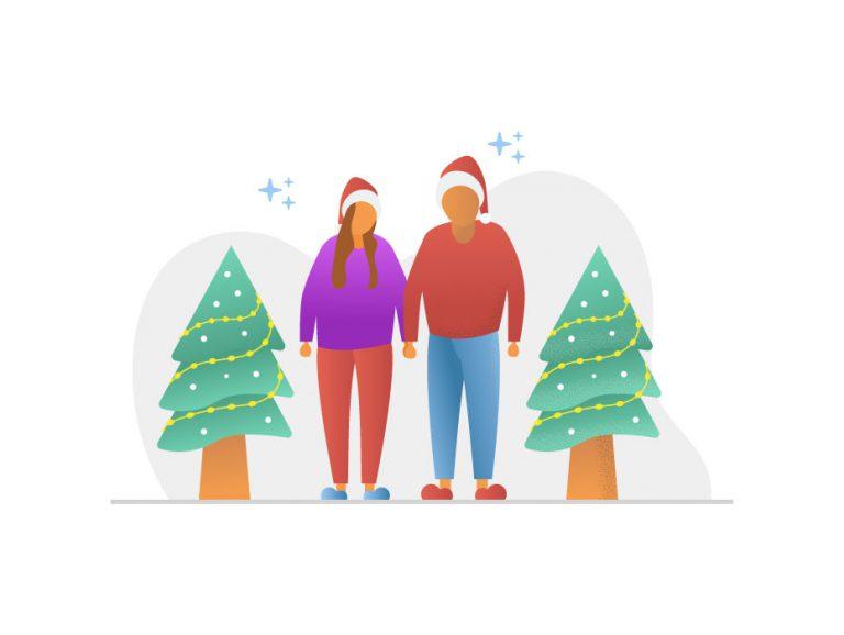 Christmas Couple Illustration