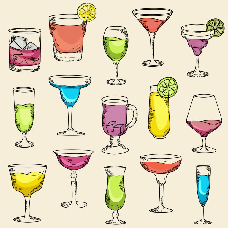 Cocktail Cups and Glasses in Sketch Style