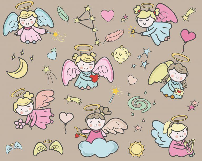 Cute Angel Doodle Vectors